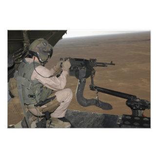 US Marine test firing an M240 heavy machine gun Photo Print