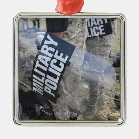 US Marines and Sailors don riot gear Metal Ornament