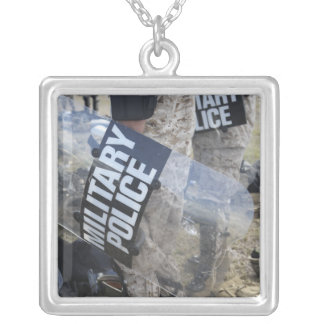 US Marines and Sailors don riot gear Square Pendant Necklace