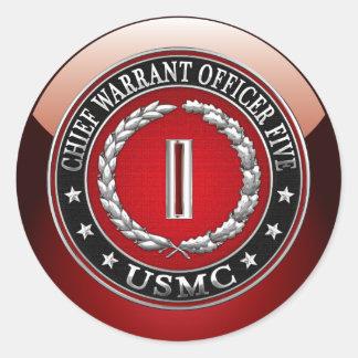 US Marines: Chief Warrant Five (USMC CWO-5) [3D] Classic Round Sticker