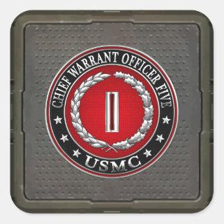 US Marines: Chief Warrant Five (USMC CWO-5) [3D] Square Sticker