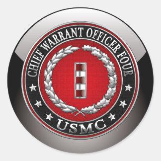 US Marines: Chief Warrant Four (USMC CWO-4) [3D] Classic Round Sticker