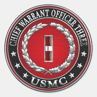 US Marines: Chief Warrant Three (USMC CWO-3) [3D] Classic Round Sticker