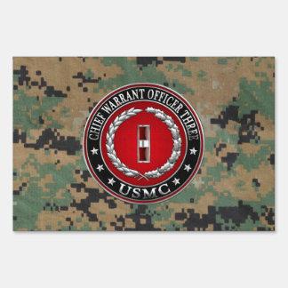 US Marines: Chief Warrant Three (USMC CWO-3) [3D] Lawn Sign