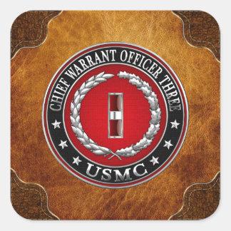 US Marines: Chief Warrant Three (USMC CWO-3) [3D] Square Sticker