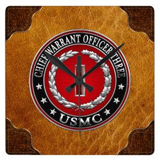 US Marines: Chief Warrant Three (USMC CWO-3) [3D] Square Wall Clock