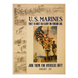 US Marines-First To Hoist Old Glory Poster