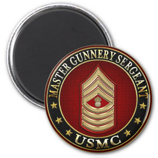US Marines: Master Gunnery Sergeant (USMC MGySgt) 2 Inch Round Magnet