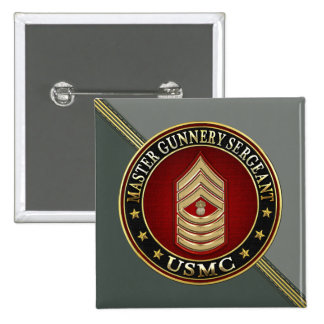 US Marines: Master Gunnery Sergeant (USMC MGySgt) 2 Inch Square Button
