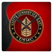 US Marines: Master Gunnery Sergeant (USMC MGySgt) Square Wallclocks