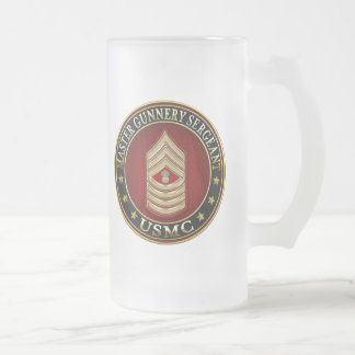US Marines: Master Gunnery Sergeant (USMC MGySgt) Frosted Glass Beer Mug