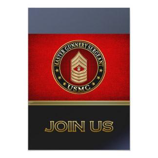 "US Marines: Master Gunnery Sergeant (USMC MGySgt) 5"" X 7"" Invitation Card"