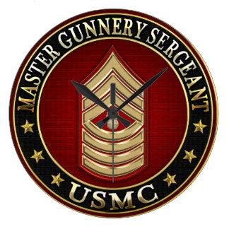US Marines: Master Gunnery Sergeant (USMC MGySgt) Large Clock