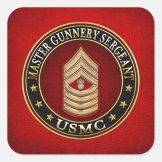 US Marines: Master Gunnery Sergeant (USMC MGySgt) Square Sticker