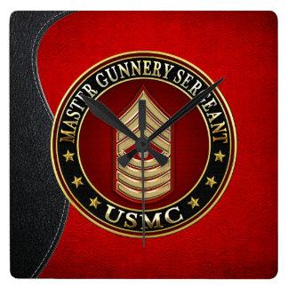 US Marines: Master Gunnery Sergeant (USMC MGySgt) Square Wall Clock