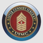 US Marines: Master Gunnery Sergeant (USMC MGySgt) Round Stickers