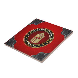 US Marines: Master Gunnery Sergeant (USMC MGySgt) Small Square Tile