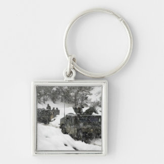 US Marines patrol in Khowst-Gardez Pass Silver-Colored Square Keychain