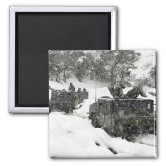 US Marines patrol in Khowst-Gardez Pass 2 Inch Square Magnet