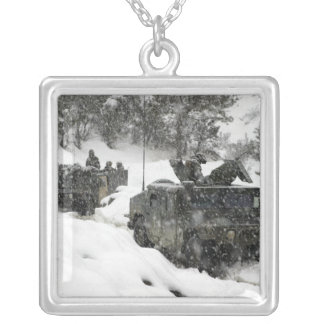 US Marines patrol in Khowst-Gardez Pass Square Pendant Necklace