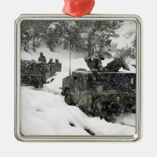 US Marines patrol in Khowst-Gardez Pass Square Metal Christmas Ornament