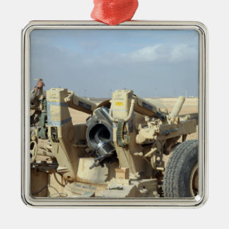 US Marines prepare to fire a howitzer 2 Metal Ornament