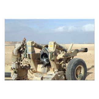 US Marines prepare to fire a howitzer 2 Photo Print