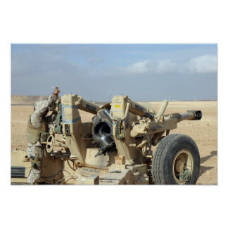 US Marines prepare to fire a howitzer 2 Poster