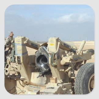US Marines prepare to fire a howitzer 2 Square Sticker