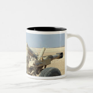 US Marines prepare to fire a howitzer 2 Two-Tone Coffee Mug