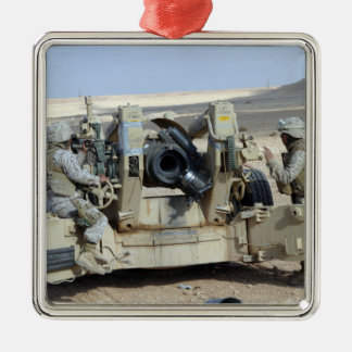 US Marines prepare to fire a howitzer Metal Ornament