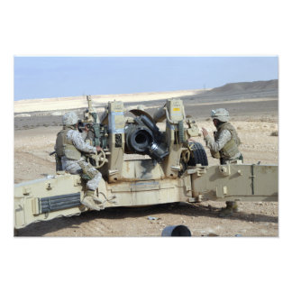 US Marines prepare to fire a howitzer Photo Print