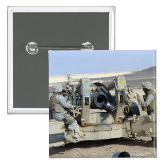 US Marines prepare to fire a howitzer Pinback Button