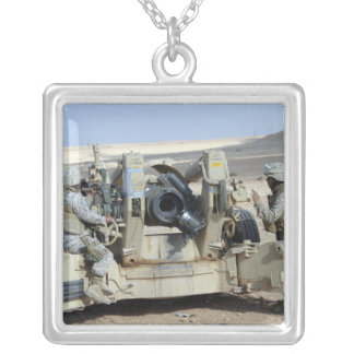 US Marines prepare to fire a howitzer Silver Plated Necklace