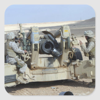 US Marines prepare to fire a howitzer Square Sticker