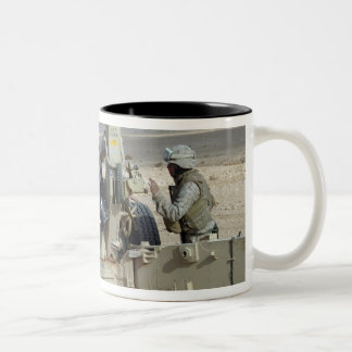 US Marines prepare to fire a howitzer Two-Tone Coffee Mug