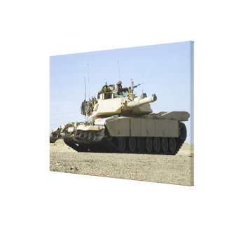 US Marines provide security in a battle tank Stretched Canvas Print