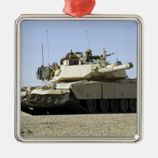 US Marines provide security in a battle tank Metal Ornament