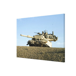 US Marines provide security in an M1A1 Abrams t Canvas Print