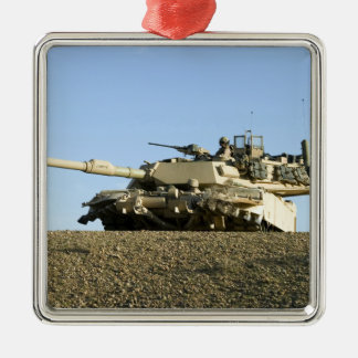 US Marines provide security in an M1A1 Abrams t Metal Ornament