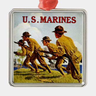US Marines ~ Soldiers of the Sea Square Metal Christmas Ornament