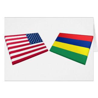 US & Mauritius Flags Card