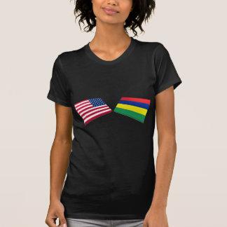 US & Mauritius Flags T Shirt