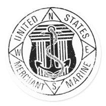 US Merchant Marines by: David Lee Classic Round Sticker