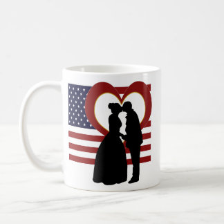 US Military Flag Heart Loving Silhouette Mug