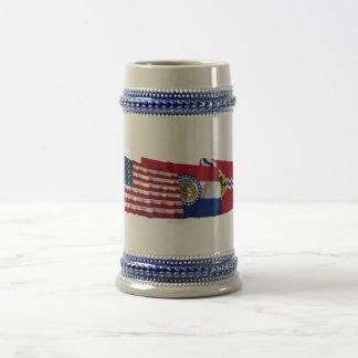 US, Missouri and Saint Louis Flags Mug