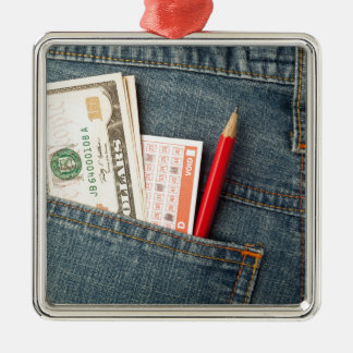 US money and lottery bet slip in pocket Metal Ornament