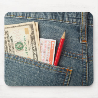 US money and lottery bet slip in pocket Mouse Pad