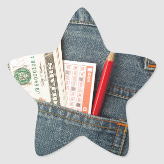 US money and lottery bet slip in pocket Star Sticker