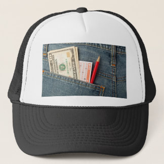US money and lottery bet slip in pocket Trucker Hat